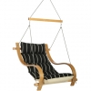 Classic Black Stripe Cushioned Outdoor Single Swing w/ Oak Armrests